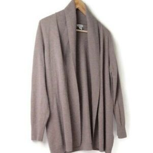 LL Bean Beige Cashmere Shawl Open Cardigan Sweater